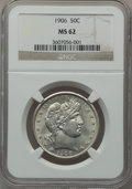 Barber Half Dollars: , 1906 50C MS62 NGC. NGC Census: (45/120). PCGS Population (56/171).Mintage: 2,638,675. Numismedia Wsl. Price for problem fr...