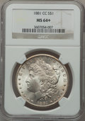 Morgan Dollars: , 1881-CC $1 MS64+ NGC. NGC Census: (3362/3042). PCGS Population(7067/5871). Mintage: 296,000. Numismedia Wsl. Price for pro...