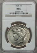 Peace Dollars: , 1928 $1 MS62 NGC. NGC Census: (1311/2418). PCGS Population(1480/4188). Mintage: 360,649. Numismedia Wsl. Price for problem...