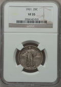 Standing Liberty Quarters: , 1921 25C VF35 NGC. NGC Census: (14/500). PCGS Population (55/727).Mintage: 1,916,000. Numismedia Wsl. Price for problem fr...