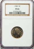 Proof Liberty Nickels: , 1908 5C PR65 NGC. NGC Census: (114/76). PCGS Population (106/46).Mintage: 1,620. Numismedia Wsl. Price for problem free NG...