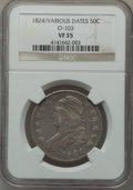 Bust Half Dollars, 1824 50C Over Various Dates, O-103, R.1 VF35 NGC. NGC Census:(3/68). PCGS Population (16/108). Numismedia Wsl. Price for ...