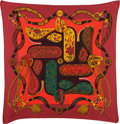"Luxury Accessories:Accessories, Hermes Pink, Teal & Gold ""Festival,"" by Henri d'Origny SilkPlisse Scarf. ..."