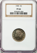 Proof Liberty Nickels: , 1905 5C PR66 NGC. NGC Census: (58/25). PCGS Population (44/10).Mintage: 2,152. Numismedia Wsl. Price for problem free NGC/...