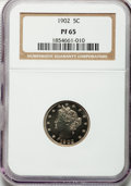 Proof Liberty Nickels: , 1902 5C PR65 NGC. NGC Census: (142/103). PCGS Population (133/79).Mintage: 2,018. Numismedia Wsl. Price for problem free N...
