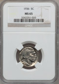 Buffalo Nickels: , 1936 5C MS65 NGC. NGC Census: (922/1122). PCGS Population(2144/1246). Mintage: 119,001,424. Numismedia Wsl. Price forprob...