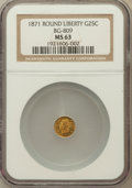 California Fractional Gold: , 1871 25C Liberty Round 25 Cents, BG-809, Low R.4, MS63 NGC. NGCCensus: (9/12). PCGS Population (18/55). ...