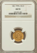 Liberty Quarter Eagles: , 1861 $2 1/2 New Reverse, Type Two AU55 NGC. NGC Census: (103/1635).PCGS Population (142/884). Mintage: 1,283,878. Numismed...