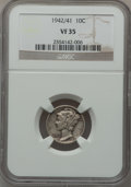 Mercury Dimes: , 1942/1 10C VF35 NGC. NGC Census: (140/864). PCGS Population(279/1039). Mintage: 205,432,336. Numismedia Wsl. Price for pro...
