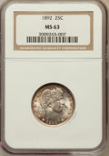 Barber Quarters: , 1892 25C MS63 NGC. NGC Census: (263/620). PCGS Population(365/575). Mintage: 8,237,245. Numismedia Wsl. Price for problem...
