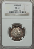 Barber Quarters: , 1892-S 25C MS62 NGC. NGC Census: (16/40). PCGS Population (17/60).Mintage: 964,079. Numismedia Wsl. Price for problem free...