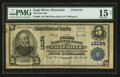 National Bank Notes:Wisconsin, Eagle River, WI - $5 1902 Plain Back Fr. 608 The First NB Ch. # 12124. ...