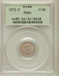 Seated Half Dimes: , 1873-S H10C MS64 PCGS. PCGS Population (77/35). NGC Census:(89/44). Mintage: 324,000. Numismedia Wsl. Price for problem fr...