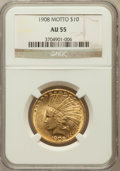 Indian Eagles: , 1908 $10 Motto AU55 NGC. NGC Census: (121/4111). PCGS Population(234/3664). Mintage: 341,300. Numismedia Wsl. Price for pr...