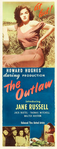 """Movie Posters:Western, The Outlaw (United Artists, 1946). Insert (14"""" X 36"""").. ..."""