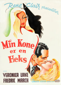 "I Married a Witch (United Artists, 1946). Danish One Sheet (24"" X 33.5"")"