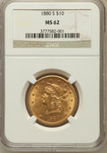 Liberty Eagles: , 1880-S $10 MS62 NGC. NGC Census: (235/34). PCGS Population(156/51). Mintage: 506,250. Numismedia Wsl. Price for problem fr...