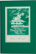 "Golf Collectibles:Autographs, 1977 Clifford Roberts Signed ""The Story of the Augusta NationalGolf Club"" Book...."