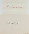Autographs:Authors, [Authors] Robert Penn Warren and Carl Sandburg Signatures...