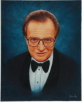 Movie/TV Memorabilia:Original Art, A Larry King Oil Painting, 1998....