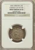 Errors, 1854 25C Arrows, Curved Clip @ 9:00 XF45 NGC. NGC Census: (53/425).PCGS Population (67/420). Mintage: 12,380,000. Numismed...