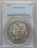Morgan Dollars: , 1893 $1 VF25 PCGS. PCGS Population (58/5607). NGC Census:(50/3692). Mintage: 389,792. Numismedia Wsl. Price for problemfr...