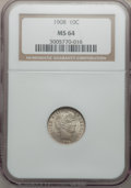 Barber Dimes: , 1908 10C MS64 NGC. NGC Census: (87/56). PCGS Population (102/56).Mintage: 10,600,545. Numismedia Wsl. Price for problem fr...