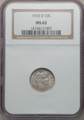 Barber Dimes: , 1910-D 10C MS62 NGC. NGC Census: (10/53). PCGS Population (12/67).Mintage: 3,490,000. Numismedia Wsl. Price for problem fr...