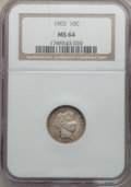 Barber Dimes: , 1903 10C MS64 NGC. NGC Census: (27/24). PCGS Population (32/37).Mintage: 19,500,756. Numismedia Wsl. Price for problem fre...