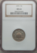 Shield Nickels: , 1876 5C MS64 NGC. NGC Census: (102/41). PCGS Population (79/51).Mintage: 2,530,000. Numismedia Wsl. Price for problem free...