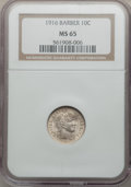 Barber Dimes: , 1916 10C MS65 NGC. NGC Census: (142/43). PCGS Population (105/51).Mintage: 18,490,000. Numismedia Wsl. Price for problem f...