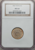 Shield Nickels: , 1867 5C Rays MS64 NGC. NGC Census: (181/61). PCGS Population(137/39). Mintage: 2,019,000. Numismedia Wsl. Price for proble...