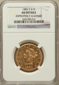 Liberty Eagles, 1883-S $10 -- Improperly Cleaned -- NGC Details. AU. NGC Census:(14/113). PCGS Population (18/98). Mintage: 38,000. Nu...