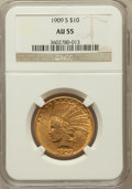 Indian Eagles: , 1909-S $10 AU55 NGC. NGC Census: (119/516). PCGS Population(107/493). Mintage: 292,350. Numismedia Wsl. Price for problem ...