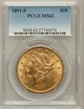 Liberty Double Eagles: , 1891-S $20 MS62 PCGS. PCGS Population (1762/869). NGC Census:(1877/534). Mintage: 1,288,125. Numismedia Wsl. Price for pro...