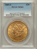 Liberty Double Eagles: , 1889-S $20 MS62 PCGS. PCGS Population (731/351). NGC Census:(533/111). Mintage: 774,700. Numismedia Wsl. Price for problem...
