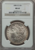 Morgan Dollars: , 1885-CC $1 MS63 NGC. NGC Census: (2307/5922). PCGS Population(4617/12139). Mintage: 228,000. Numismedia Wsl. Price for pro...