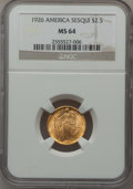 Commemorative Gold: , 1926 $2 1/2 Sesquicentennial MS64 NGC. NGC Census: (2892/1230).PCGS Population (4351/2098). Mintage: 46,019. Numismedia Ws...