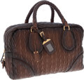 Luxury Accessories:Bags, Prada Brown Napa Leather Chevron Antic Bowling Bag. ...