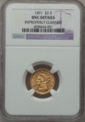 Liberty Quarter Eagles: , 1891 $2 1/2 -- Improperly Cleaned -- NGC Details. Unc. NGC Census:(7/213). PCGS Population (12/132). Mintage: 10,900. Numi...