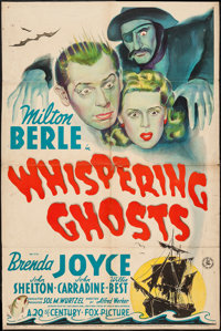 """Whispering Ghosts (20th Century Fox, 1942). One Sheet (26.5"""" X 40.5'""""). Comedy"""