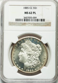 Morgan Dollars: , 1885-CC $1 MS62 Prooflike NGC. NGC Census: (89/506). PCGSPopulation (154/937). Numismedia Wsl. Price for problem free NGC...