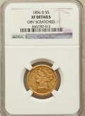 Liberty Half Eagles, 1856-D $5 -- Obverse Scratched -- NGC Details. XF. Variety 39-FF(formerly 33-BB)....