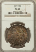 Morgan Dollars: , 1890 $1 MS64 NGC. NGC Census: (4086/304). PCGS Population(3575/445). Mintage: 16,802,590. Numismedia Wsl. Price forproble...