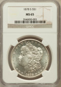 Morgan Dollars: , 1878-S $1 MS65 NGC. NGC Census: (3982/507). PCGS Population(3644/623). Mintage: 9,774,000. Numismedia Wsl. Price for probl...