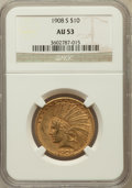 Indian Eagles: , 1908-S $10 AU53 NGC. NGC Census: (78/496). PCGS Population(41/433). Mintage: 59,850. Numismedia Wsl. Price for problem fre...