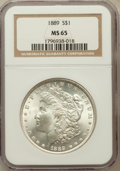 Morgan Dollars: , 1889 $1 MS65 NGC. NGC Census: (1979/209). PCGS Population(1714/210). Mintage: 21,726,812. Numismedia Wsl. Price forproble...