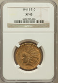 Indian Eagles: , 1911-S $10 XF45 NGC. NGC Census: (19/293). PCGS Population(21/297). Mintage: 51,000. Numismedia Wsl. Price for problem fre...