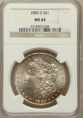Morgan Dollars: , 1882-O $1 MS63 NGC. NGC Census: (5589/5998). PCGS Population(7365/5835). Mintage: 6,090,000. Numismedia Wsl. Price for pro...