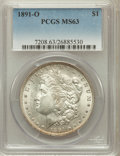 Morgan Dollars: , 1891-O $1 MS63 PCGS. PCGS Population (2130/1517). NGC Census:(1519/1109). Mintage: 7,954,529. Numismedia Wsl. Price for pr...
